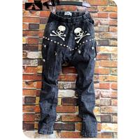 Personality Rivet Skull Skinny Jeans Harem Pants The Trend Of Fashion New Arrival Korean Design Super Hot Hip-hop Trousers