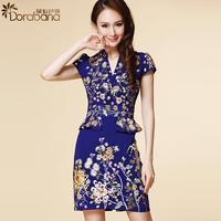 Dora 2014 summer women's pure white collar fashion OL outfit short-sleeve dress slim  Free shipping