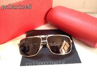 New gilded leather legs titanium men's polarized sunglasses 0034 Luxury brand metal polarized sunglasses for men driver mirror