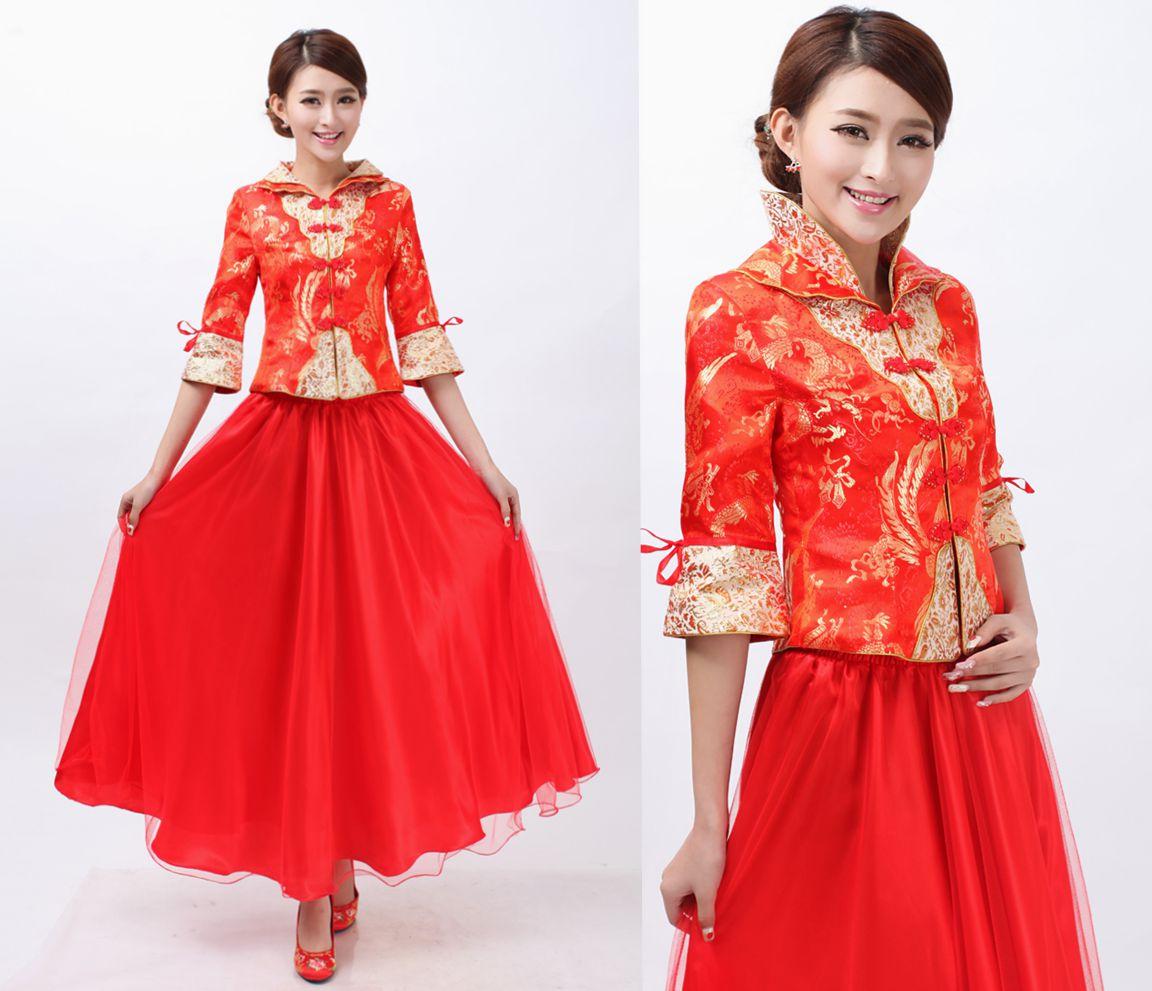 Women s evening dress chinese style red wedding dress bride dress