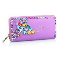 High Quality Luxury Colorful Diamante 2014 Brand Designer Women Wallets Carteira Feminina Change Purse WZ-1282