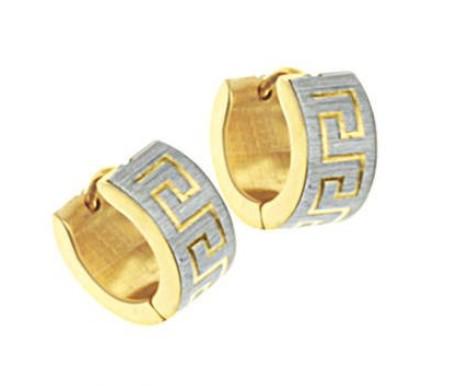 Wall pattern style Hoop earrings, 18K gold vacuum plating ,316 Stainless Steel Earrings(China (Mainland))