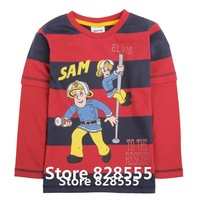 Baby Clothing A4273# 18m/6y 5pieces /lot printed cartoon character Fireman Sam  boy spring autumn long sleeve T-shirt