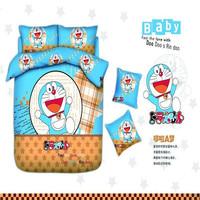 2014 new cartoon Doraemon cat pattern bedding set 4pcs for boy&girls,duvet cover/comforter/quilt/bed sheet/bed clothes/bedspread