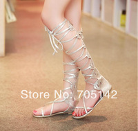Free shipping! Fashion elegant golden&silver women/lady flat sandals/shoes, soft sexy paillette lace design summer shoes