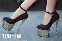 Super high heels Rivet waterproof shoes Diamond club high heels. Free shipping