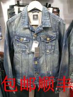 Gs male denim coat outerwear light color water wash distrressed retro finishing slim denim coat