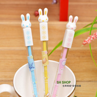 Cute stationery 12pcs 0.38mm black ink sweet lucky rabbit gel pens novelty children student school creative prize wholesale