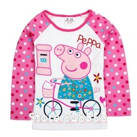 Baby Clothing 18m-6y F4323# Nove baby girls lovely cotton T-shirt autumn spring peppa pig t-shirts kids clothes print cartoon