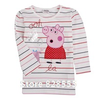 new 2014 baby clothing children t shirts tops & tees clothing set autumn-summer kids long sleeve christmas peppa pig girls F4291
