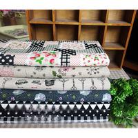 Black 7 Assorted Pre-Cut Cotton Linen Quality Quilt Fabric Fat Quarter Tissue Bundle Charm Sewing Handmade Textile Cloth 70x50cm
