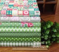 Green 7 Assorted Pre-Cut Cotton Linen Quality Quilt Fabric Fat Quarter Tissue Bundle Charm Sewing Handmade Textile Cloth 70x50cm