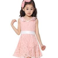 free shipping new arrival children's fahsion sleeveless dress little girl's lace knee-length dress