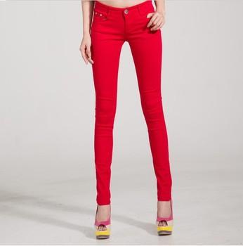 2014 Женщины Trousers Candy Цветes Slim Fit Pencil Джинса For Female  WKP004