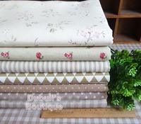 Beige 7 Assorted Pre-Cut Cotton Linen Quality Quilt Fabric Fat Quarter Tissue Bundle Charm Sewing Handmade Textile Cloth 70x50cm