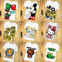 2014 children's summer clothing child short-sleeve T-shirt male female child 100% cotton cartoon T-shirt short-sleeve top