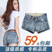 Plus size denim shorts mm women's mid waist short trousers lowing