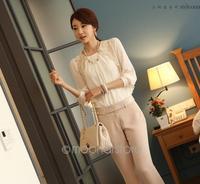 2014 Women Office Lady Fashion Elegant White Lace Embroidered Long sleeve Chiffon Blouse Tops Shirt S/M/L/XL 40j-CE1422