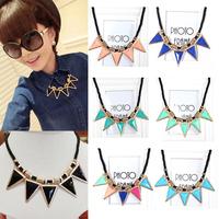 Punk black crystal triangle fashion accessories decoration design short chain necklace female