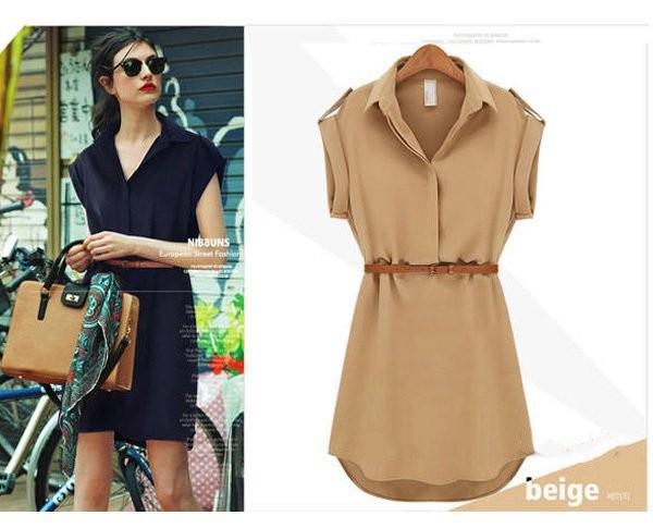 new 2014 Garment Summer New Women Short-sleeved Large Size Loose Shirt Chiffon Dresses Fashion Casual S M L XL(China (Mainland))