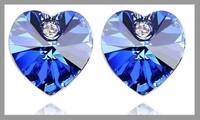 Fashion Colorful Peach heart crystal earrings wholesale