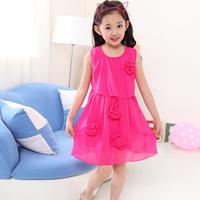 free shipping new arrival Children's clothing girl's summer 2014 child princess dress child chiffon one-piece dress