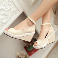 2014 summer open toe sandals high heel wedges laciness small fresh platform heighten female sandals women's shoes wedges sandals