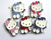 Mix 22x17mm lovely KT cat mobile phone pendant handmade bracelet bead, bow flower hello kitty european pendant silver charm free