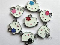 Mix 17x15mm KT cat mobile phone pendant handmade bracelet beads charm, enamel plum flower hello kitty jewerly making accessories