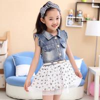 2014 children's summer clothing little girl's ball gown mini dress kid's parchwork denim dress