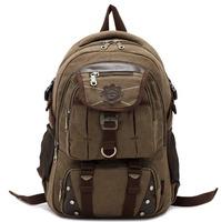 Hot Brand Backpack,Women / Men Vintage Luxury Designer Rucksack,100% Cotton Canvas With Leather Military Bag Students School Bag