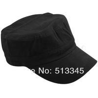 Black Army Military Cadet Cotton Men Women Flat Cap Hat