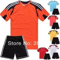 new arrived man's blank soccer set,custom soccer team uniform set.