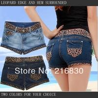 2014 New brand ladies leopard edge jeans shorts sexy Female vintage roll-up hem summer jeans short pants wholesale