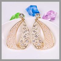 Korea pearl gold plated rhinestone fashion trendy jewelry earring for women