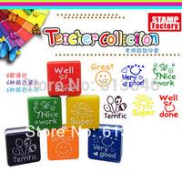 6pcs/lot New Teachers Stampers Self Inking Praise Reward Stamps Motivation Sticker School Free shipping