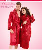 LZ nightwear rose flower print women's polyester red robe long sleeve turn-down collar  thin bathrobe  plus size M L XL XXL 6038