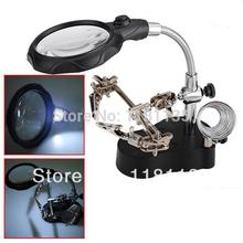 3.5X 12X LED Helping Hand clipe do suporte soldado Hold Magnifier grampo lente de vidro lupa lupa reparação grátis frete(China (Mainland))