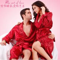 LZ nightwear rose flower print men's polyester red robe long sleeve turn-down collar  thin bathrobe  plus size M L XL XXL XXXL