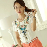 2014 plus size clothing print chiffon shirt all-match o-neck short-sleeve chiffon ruffled pleated shirt female