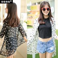 2014 summer sunscreen loose shirt cardigan sun protection clothing medium-long chiffon shirt thin outerwear female spring and