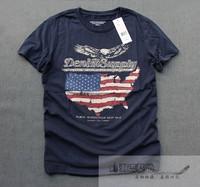 Single washed cotton soft flag eagle print rrl Men vintage short-sleeve T-shirt