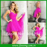 FS-1405031645  Elegant spaghetti strap front short back long chiffon evening dress 2014