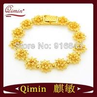 Ancient style thirteen sun flower 24K gold plated bracelet copper wedding bracelet