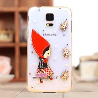 Fashion diamond girl case for Samsung Galaxy  S5 i9600 diamond cell phone protection shell case
