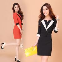 Summer women dress new 2014 slim faux two piece suit OL outfit elegant work wear one-piece dress
