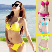 Swimwear female sexy small steel three-bikini yellow red buddhistan Sky Blue neon green swimwear