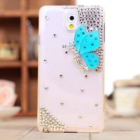rhinestone crstal butterfly Case Cover for Samsung Galaxy Note III 3 Note3 N9000 N9002 N9005 N9006 mobile phone case