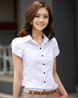 2014 shirt white short-sleeve shirt slim female tooling summer ruffle sleeve plus size XS-5XL