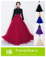 2014 New Fashion Big Swing Ball Gown Mesh Skirts Women's Chiffon Long Skirts TSP1218